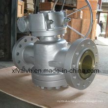 Worm Gear Metal Sealed Flange Connection End Plug Valve