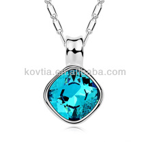 Charm horn pendant necklace blue crystal jewelry necklace platinum sliver chains necklace