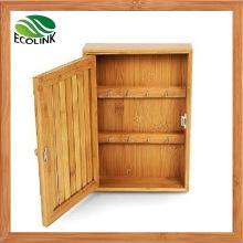 Bamboo Key Holder / Hooks Storage Cabinet