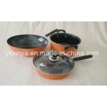 Набор посуды из углеродистой стали с мраморным покрытием