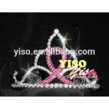 Одиночный розовый лента мода кристалл тиара