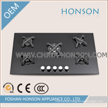Natural Gas Built in Cast Iron Tempered Glass Gas Hob