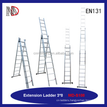 1 2 3 layer aluminum combination extension ladder 10m with EN131 certificate