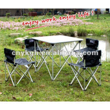 Aluminum camping table and fihsing chairs