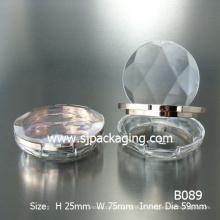 Diamante simples pó compacto caixa em pó caso plástico redondo recipiente de plástico em pó compõem pó compacto