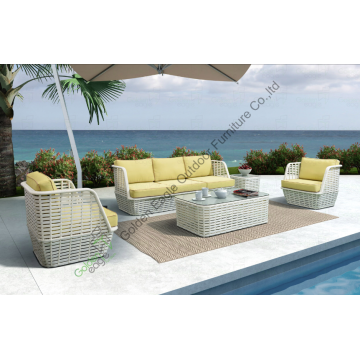 rotan patio 4 stks meubels aluminium frame sofa set