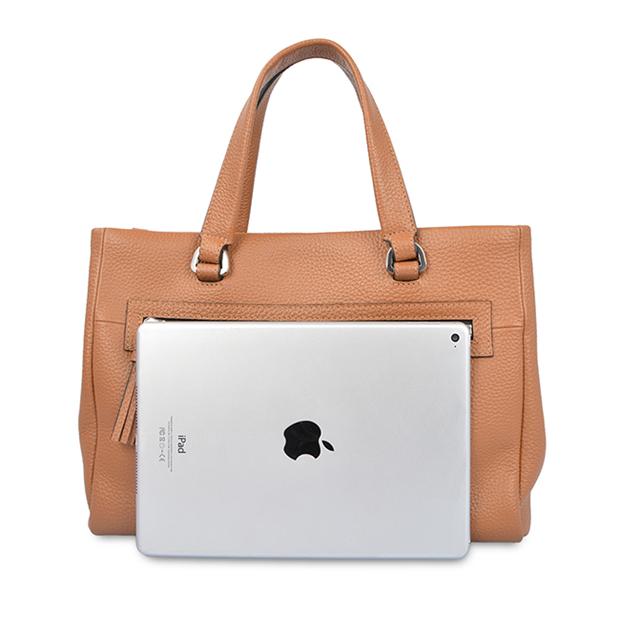 Leather Top-Handle Business Satchel Handbag