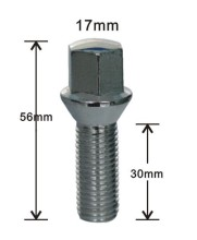 17mm hex conical seat lug bolts