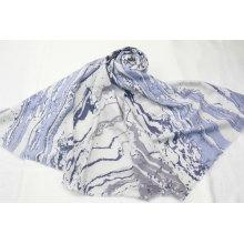 2020 new fashion blue vertical  stripe marble pattern print long scarf fringe on four side super soft hand feeling