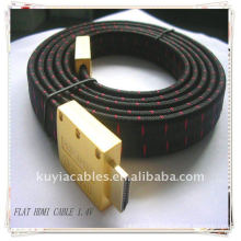 Neues Gold überzogenes HDMI Kabel 1.4v Millimeter HDMI flaches Kabel mit Nylonjacke