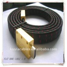 Novo cabo banhado a ouro HDMI 1.4v MM cabo HDMI com jaqueta de nylon