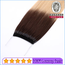 Wholesale 100% Brazilian Remy Human Hair 10A Grade Straight Omber Muti Color Knot Thread Human Hair Extension