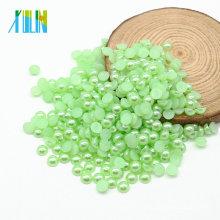 Excelente calidad Z16-Peridot Color YIWU perlas redondas perla para manualidades cortadas a la mitad