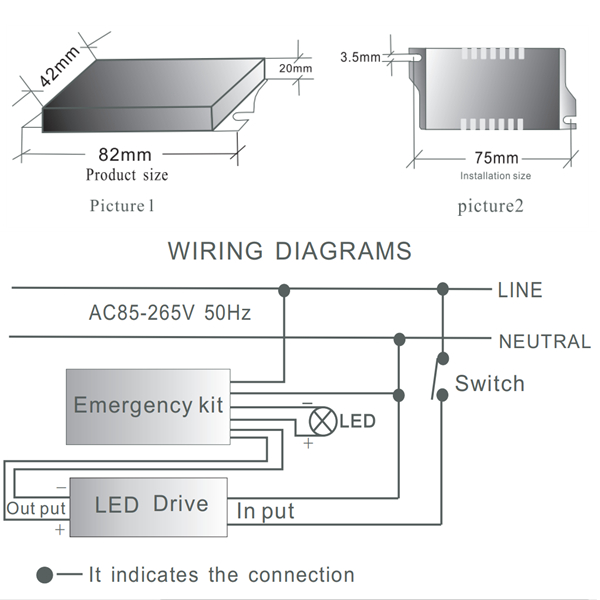 led emergency driver FAT-LED-F1D wiring diagrams