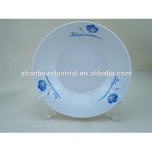 Azul, flor, porcelana, decalque, profundo, jantar, prato