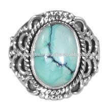 Spätestes Design Tibetischer Türkis Edelstein 925 Sterling Silber Ring