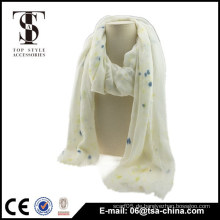 Sehr weicher Farbpunkt weißer Viskose Frauen Schal Frühling Schal