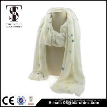 Bufanda viscosa blanca del resorte del mantón de las mujeres viscosa del punto del color muy suave