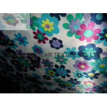 flower shiny Printed Satin For bedding sheet
