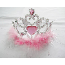 Pink Feather PP Crown Tiaras