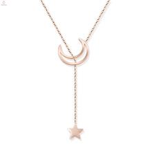 Menina rosa de ouro de aço inoxidável estrela lua colar lariat