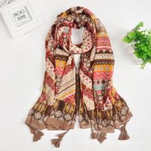 bom comprimento total e confortável elegante impresso alfaiate étnico borlas cachecol