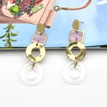 Gold zinc alloy ring linked drop stud transparent acrylic earrings
