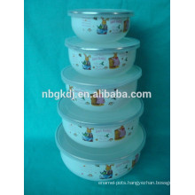 5 sets enamel ice bowl with pe lid cotton decals printing decal enamel mug