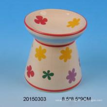 Home decoration ceramic incense burner with flower design