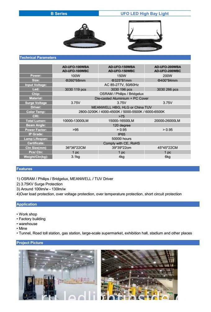 UFO LED High Bay Light Data Sheet