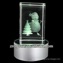 K9 3D Laser Snowman gravé cristal avec LED coloré