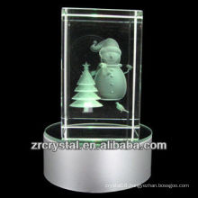 K9 3D Laser Snowman Etched Crystal with LED colorful