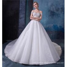 Off shoulder bride wedding dress lace up back