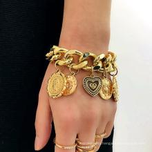 Vintage embossed pendants generous all-match jewelry personality exaggerated geometric punk bracelet women