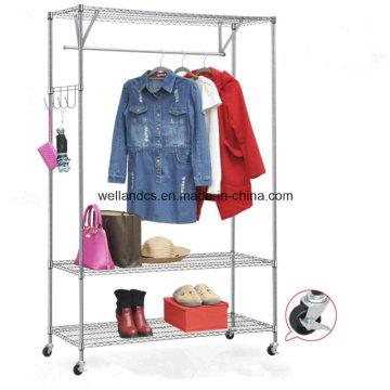 DIY Espacio Ahorre ropa de acero armario rack con ruedas