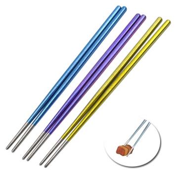 Pauzinhos de titânio de metal leve multicoloridos