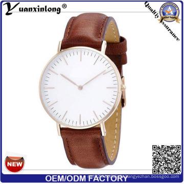 Yxl-646 IP-Überzug nettes Art- und Weisevorwahlknopf-Element-geuine lederne Band-bequeme Armbanduhr-Uhr-Preis-Preis