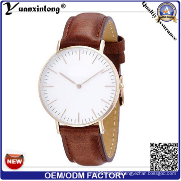 Yxl-646 IP Plating Cute Fashion Dial Element Geuine Leather Band Comfortable Wrist Watch Vogue Watch Price