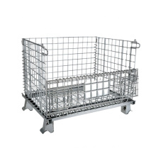 Collapsible Wire Mesh Pallets Metal Foldable Cage , Inventory Cylinder Steel Storage Cage/