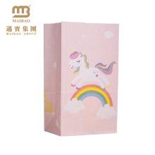 Sacos de empacotamento do presente bonito colorido do papel dos desenhos animados do caráter do impressão do unicórnio para crianças