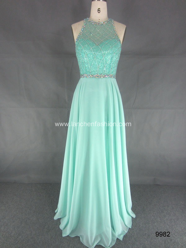 Sleeveless Illusion Neckline Evening Dress