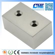 N48 F50.8X31.75X25.4mm Countersunk Block Neodymium Rare Earth Magnet