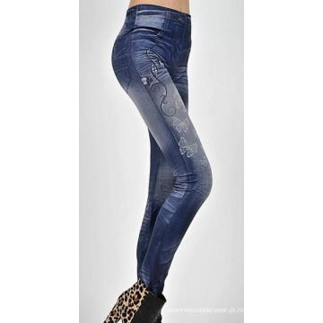 Jeans para as pernas gordas meninas sem costura destruído Leggings