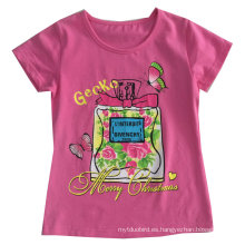 Camiseta con estampado de flores para niños en ropa de niña Ropa con estampado Sgt-074