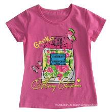 T-shirt fleur lettre enfants en vêtements de fille vêtements avec impression Sgt-074