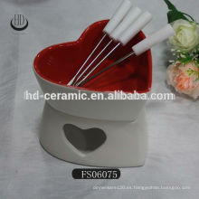 Cerámica mini fondue de chocolate, fondue de cerámica conjunto con tenedor, utensilio de queso cuenco de cerámica con soporte