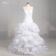 LZ158 Alibaba una línea vestidos de boda sin mangas de la ilusión del vestido de la colmena Amor del cordón