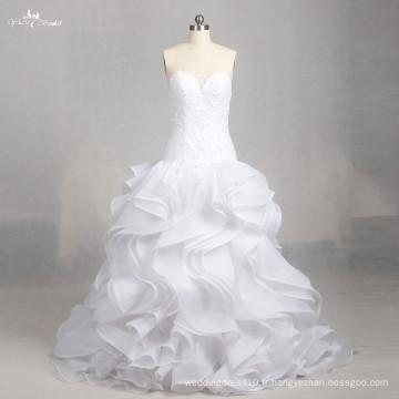 LZ158 Alibaba A Line Ruffle Robe sans manches Illusion Robes de mariée Daisy Sweetheart