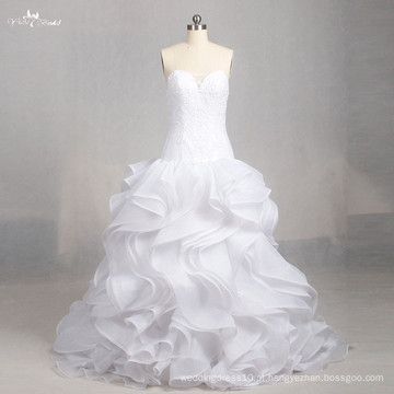 LZ158 Alibaba A Line Ruffle Vestido sem mangas Illusion Vestidos de noiva Lace Sweetheart
