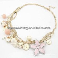 Colliers de mode Shell avec fleurs roses Colliers Lolita FN112